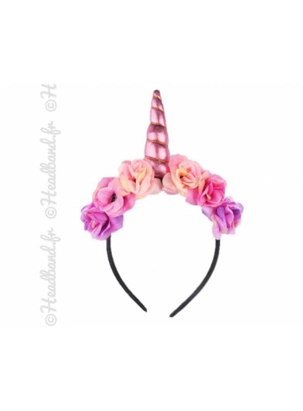 Serre-tête licorne avec fleurs bohèmes rose