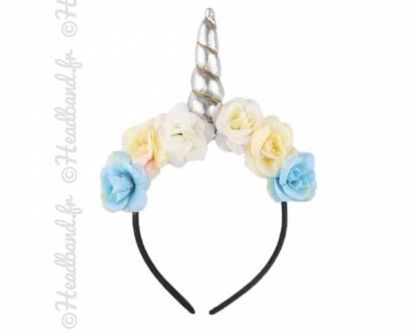 Serre-tête licorne avec fleurs bohèmes argenté