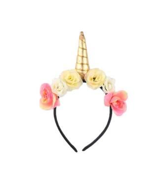 Serre-tête licorne avec fleurs bohèmes doré