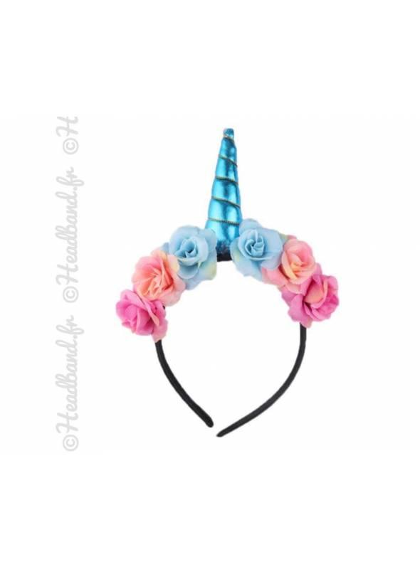 Serre-tête licorne avec fleurs bohèmes bleues