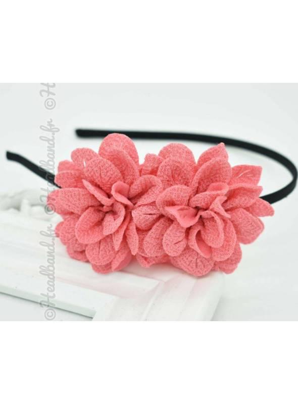 Serre-tête double fleur corail