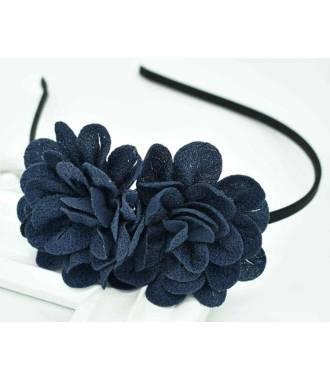 Serre-tête double fleur bleu marine