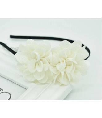 Serre-tête double fleur crème
