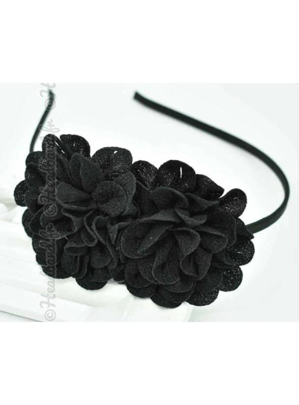 Serre-tête double fleur noir
