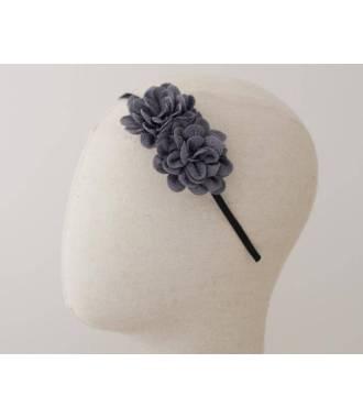 Serre-tête double fleur gris