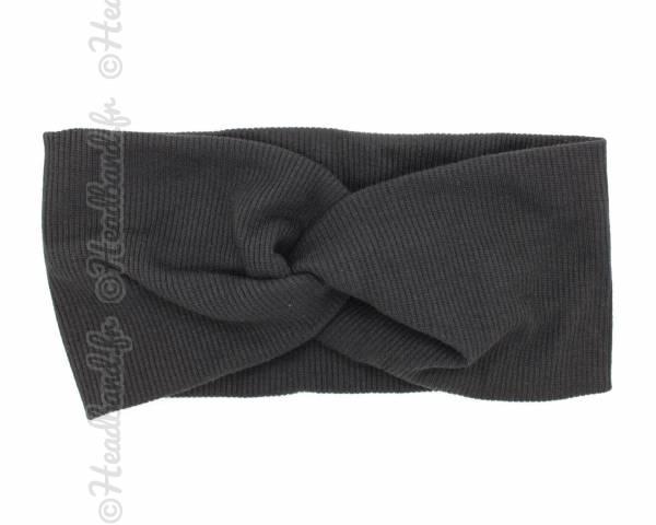 Turban croisé maille côtelée noir