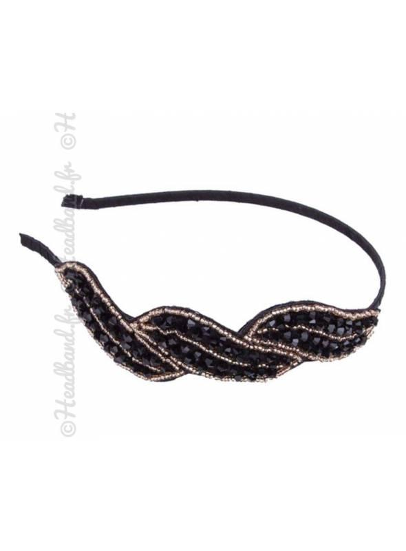 Serre-tête perles arabesque noir