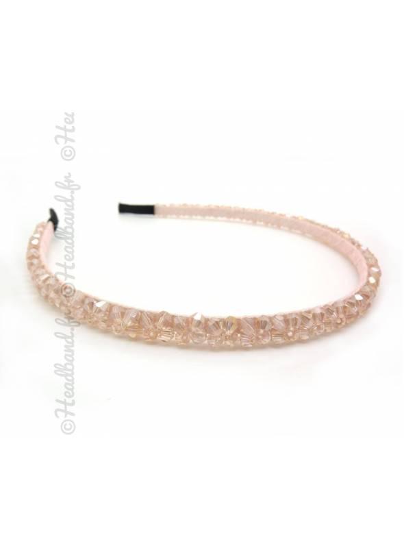 Serre-tête perles fin rose