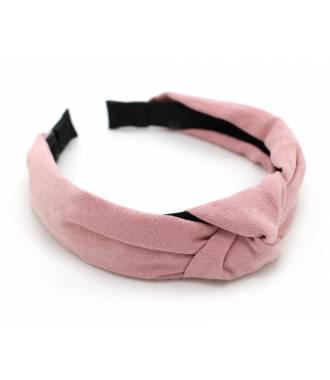 Serre-tête turban suédine rose