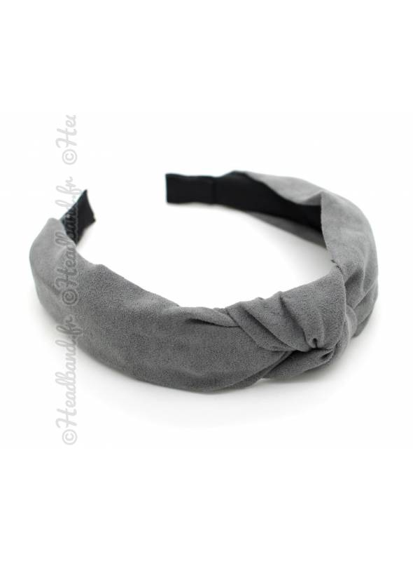 Serre-tête turban suédine gris