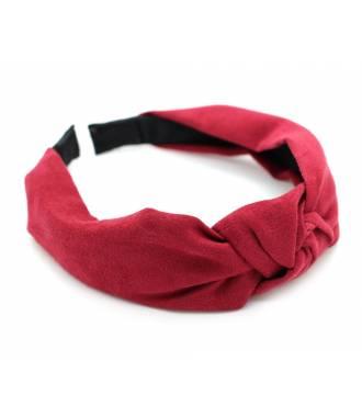 Serre-tête turban suédine rouge