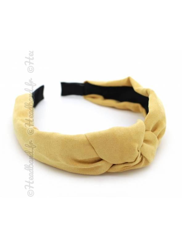 Serre-tête turban suédine jaune moutarde
