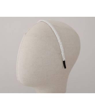 Serre-tête perles fin blanc