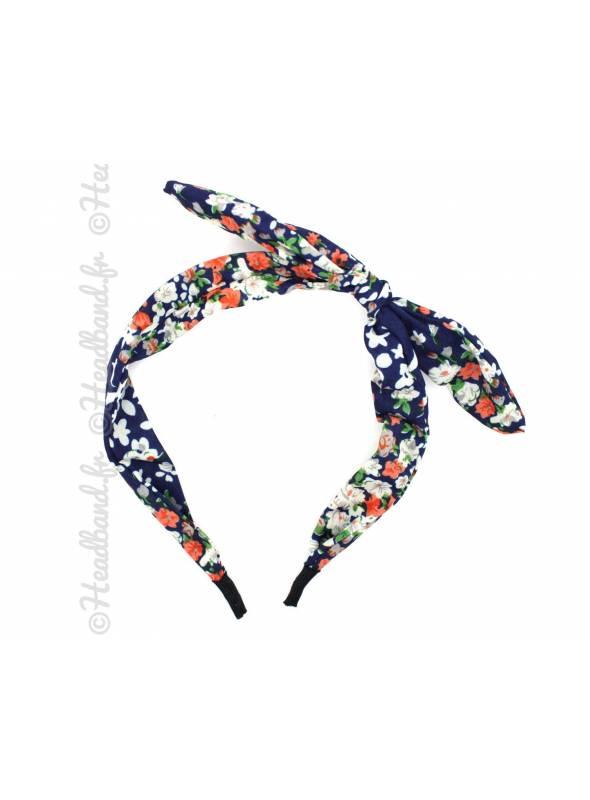 Serre-tête noeud liberty bleu