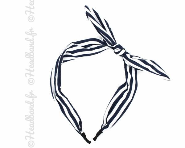 Serre-tête nœud rayé bleu et blanc