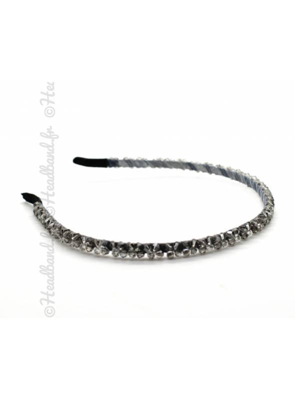Serre-tête perles fin gris