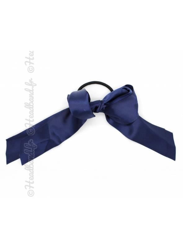 Elastique noeud ruban satin bleu marine