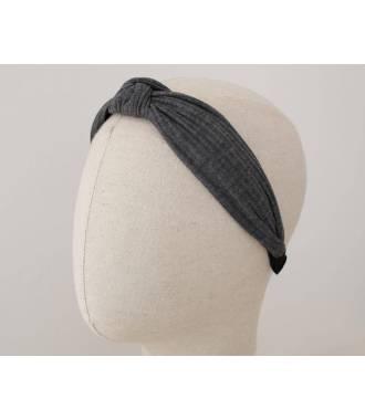 Serre-tête turban côtelé gris foncé