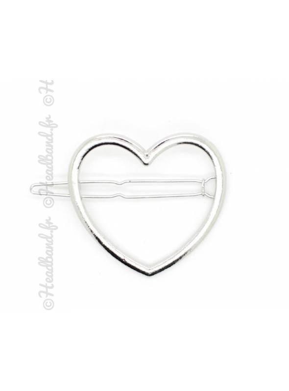 Barrette métal motif coeur