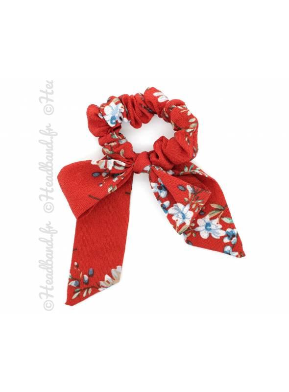 Chouchou mousseline motif floral rouge