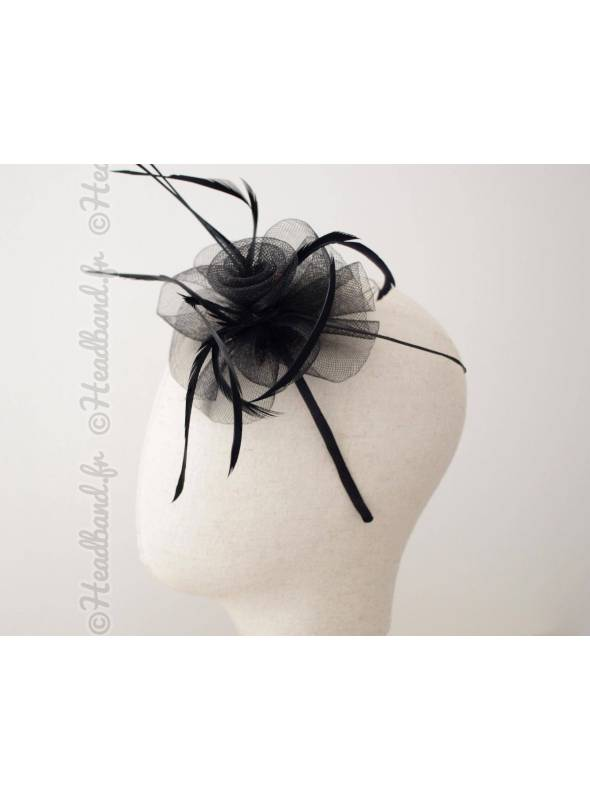 Serre-tête bibi tulle et plumes noir