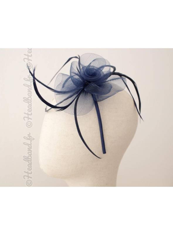 Serre-tête bibi tulle et plumes bleu