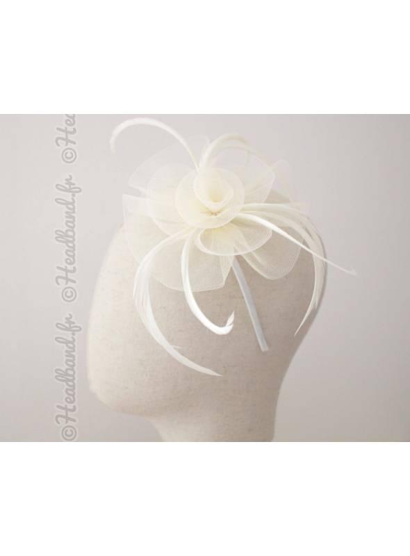 Serre-tête bibi tulle et plumes crème