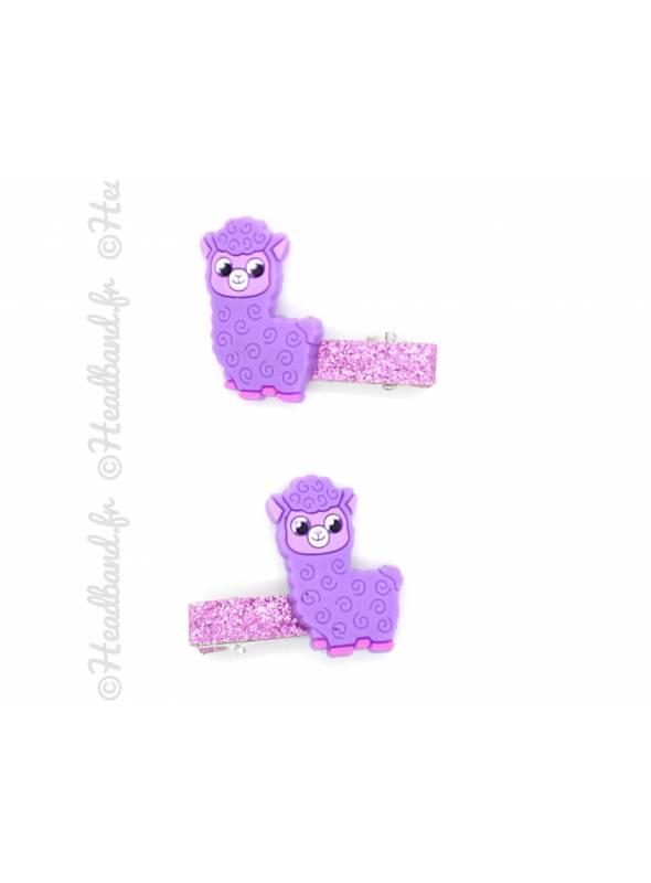 Pince clip lama fillette coloris mauve