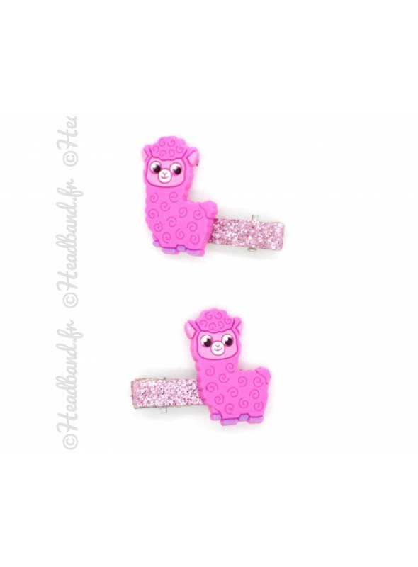 Pince clip lama fillette coloris rose