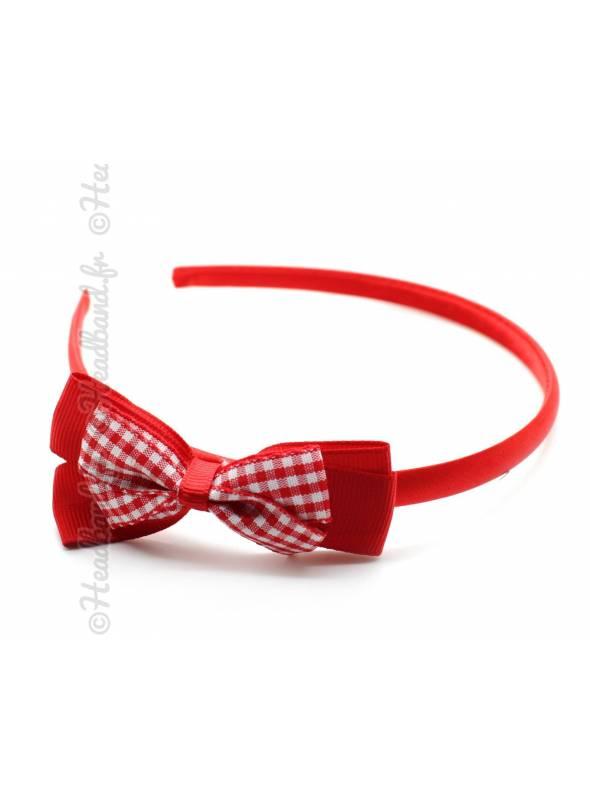 Serre-tête fille noeud vichy rouge