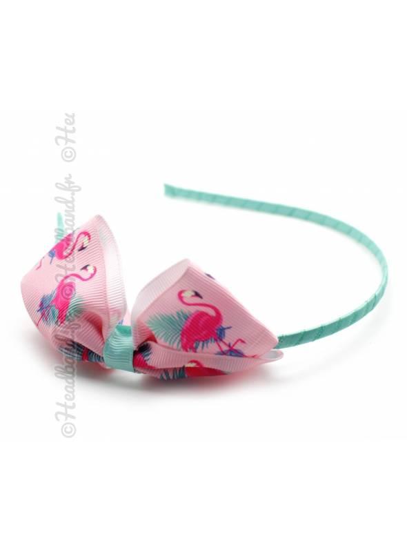 Serre-tête noeud motif flamand rose