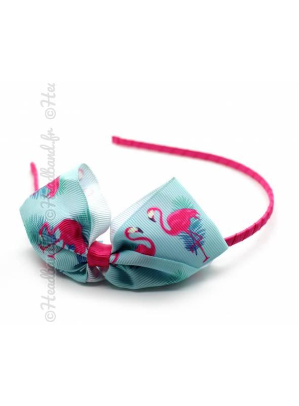 Serre-tête noeud motif flamingo bleu