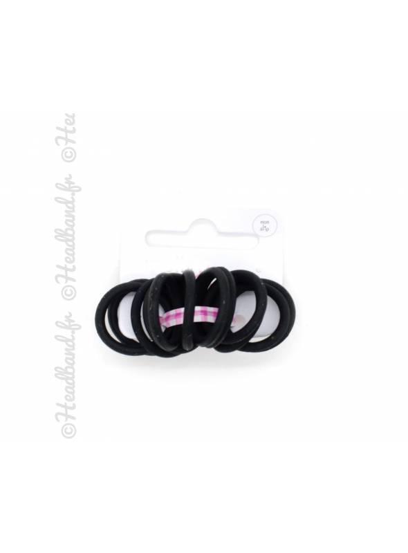 Mini-élastiques silicone x 12 noir