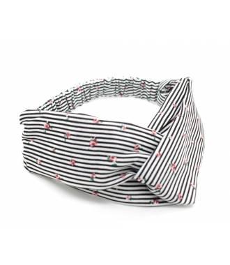 Headband pin-up croisé motif rayé noir