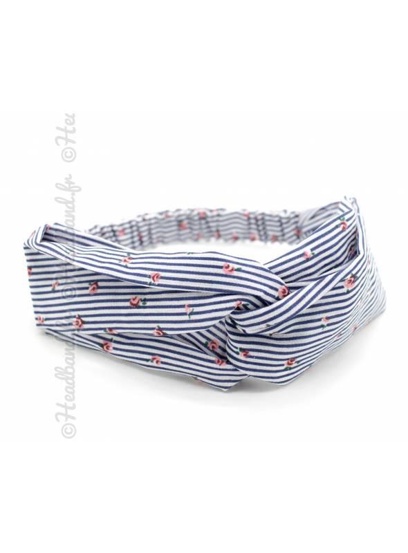 Headband pin-up croisé motif rayé bleu marine