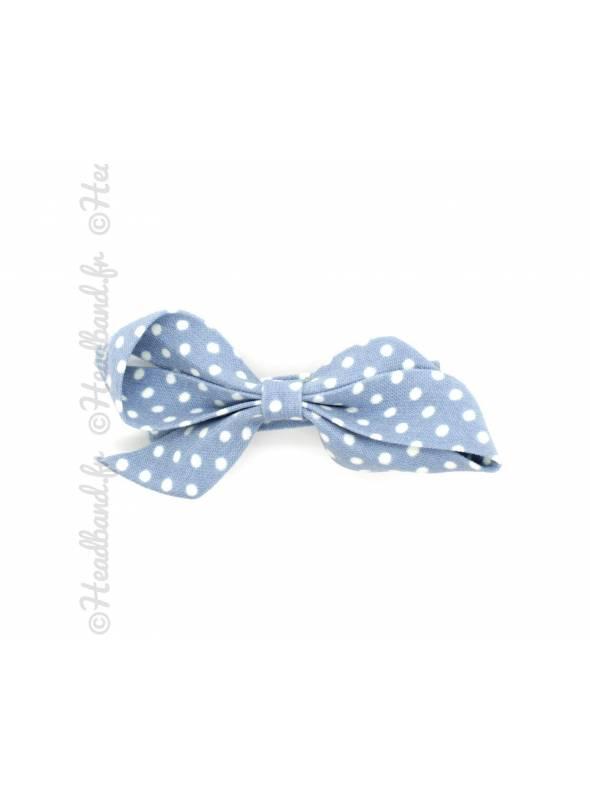 Pince à clip motif pois bleu 6 cm
