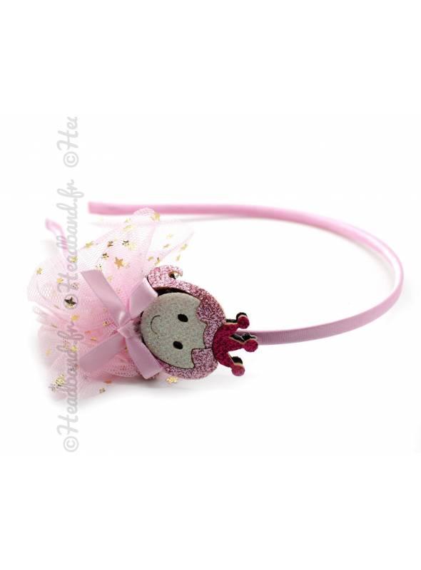 Serre-tête tulle étoiles motif princesse rose