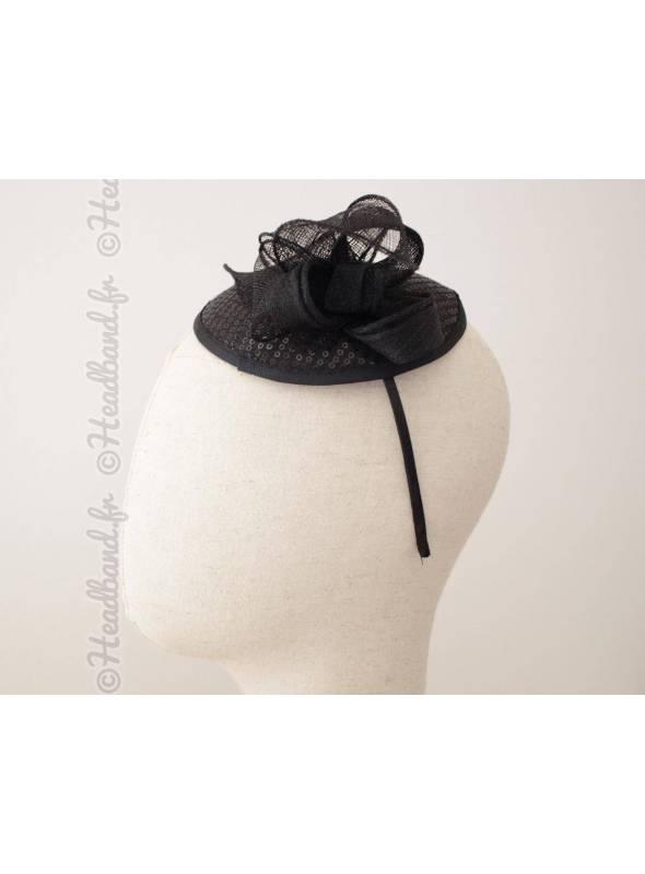 Serre-tête rétro chapeau noir à sequins