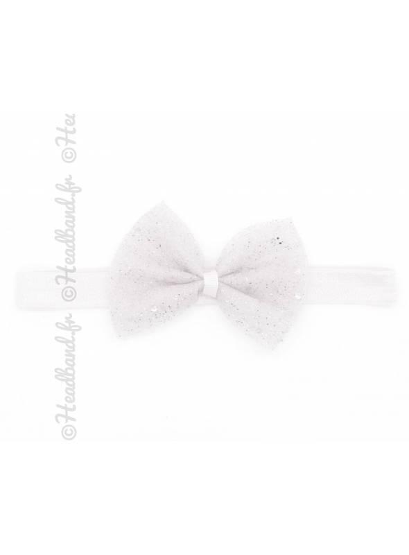 Bandeau fillette noeud pailleté blanc