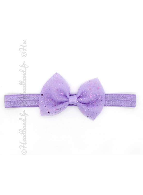 Bandeau fillette noeud pailleté violet