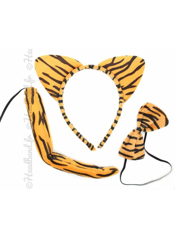 Serre-tête noeud papillon et queue de tigre
