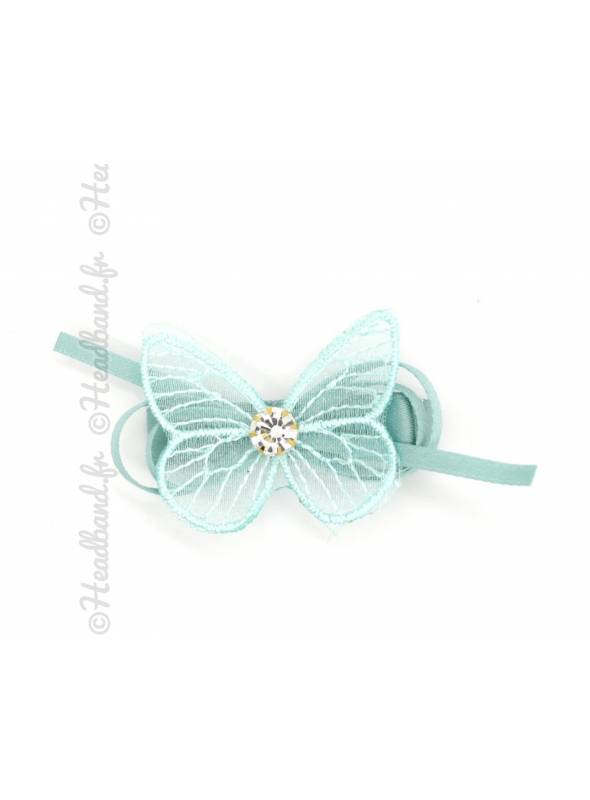 Pince clip ruban avec papillon aqua