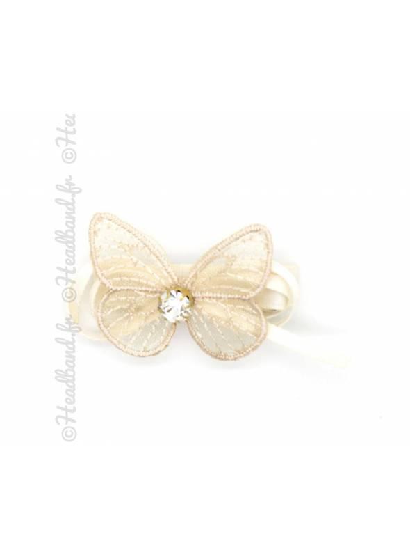 Pince clip ruban avec papillon beige