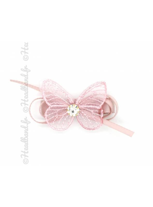 Pince clip ruban avec papillon rose