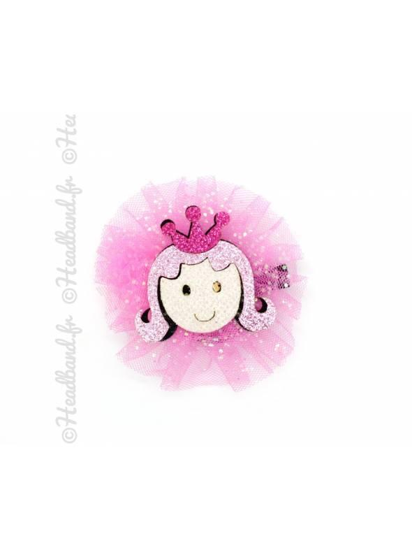 Pince clip tulle motif princesse paillettes rose fushia