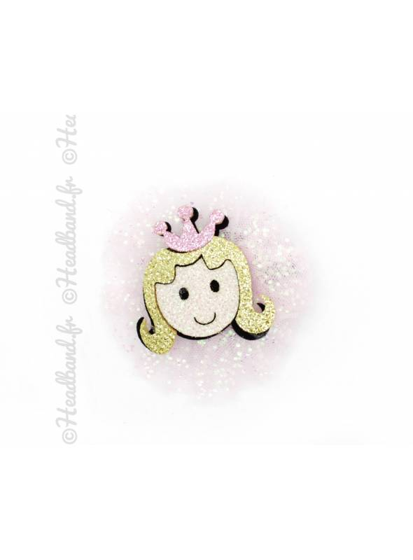 Pince clip tulle motif princesse paillettes rose pastel
