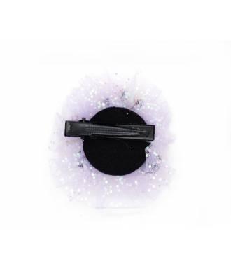 Pince clip tulle motif princesse paillettes mauve