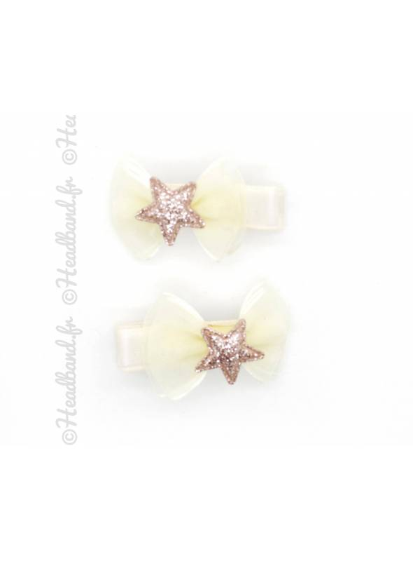 Pince clip organza noeud étoile glitter beige