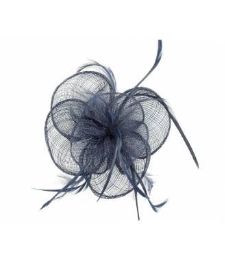 Bibi mariage fleur sisal à plumes bleu marine