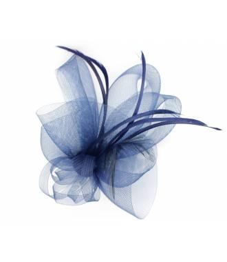 Coiffe élégante mariage tulle bleu marine